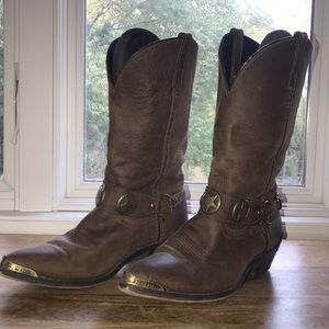 Shoes - Leather cowboy boots with star buckle
